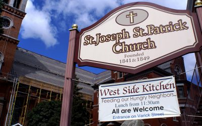 St. Joseph & St. Patrick Church, and West Side Kitchen signs