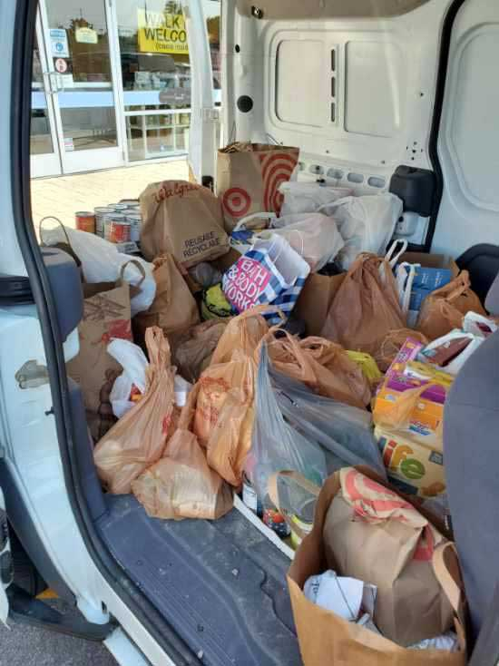 Donated food loaded in van